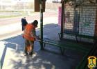 Проводиться робота з дезінфекції облаштованих зупинок громадського транспорту