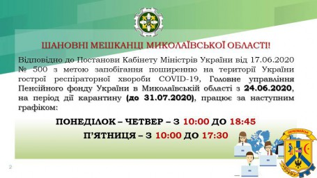 Зміна графіку роботи ГУ ПФУ в Миколаївській області